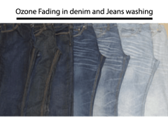 Ozone fading in denim and jeans washing